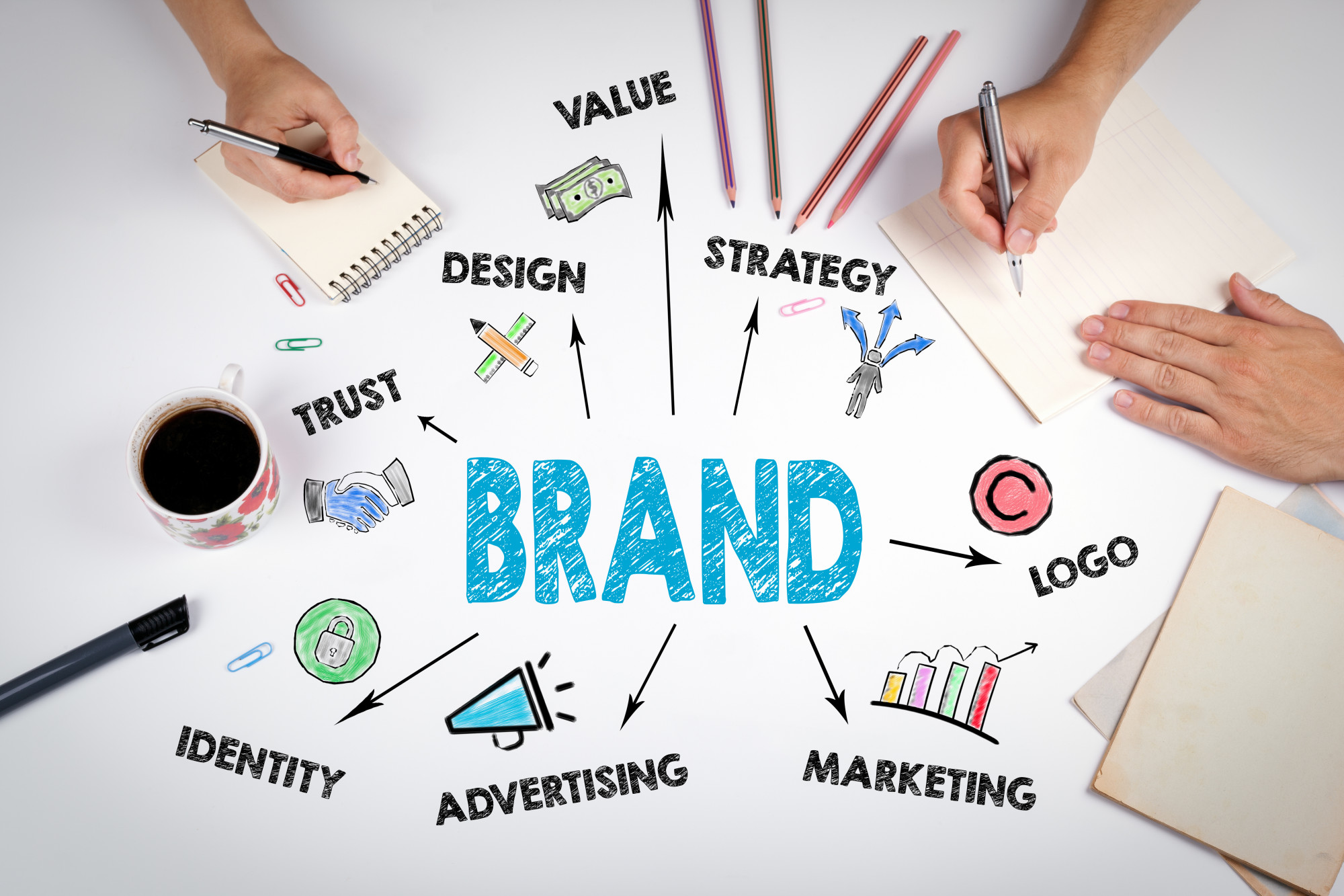 brand marketing with logo