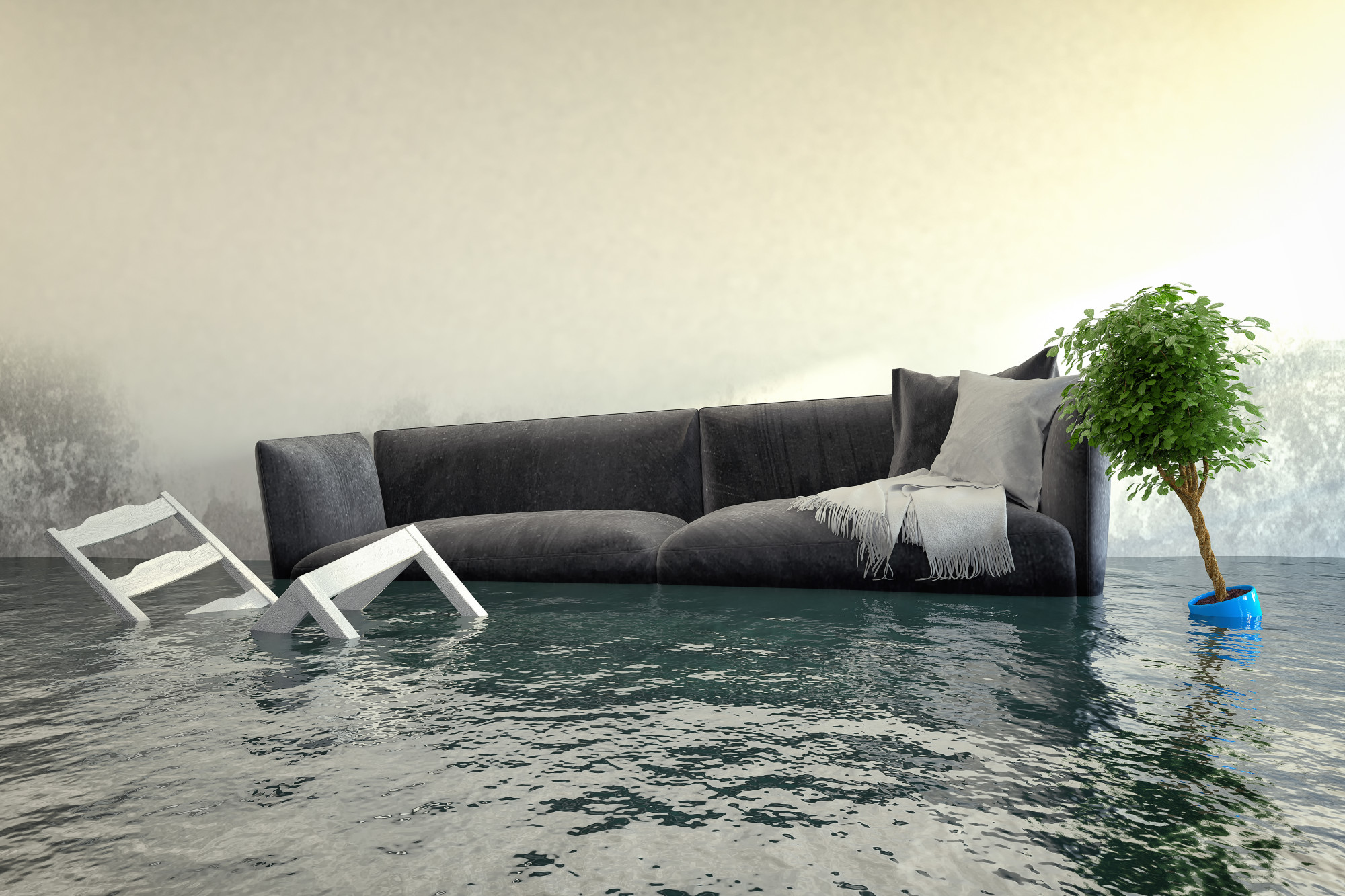 flooded living room