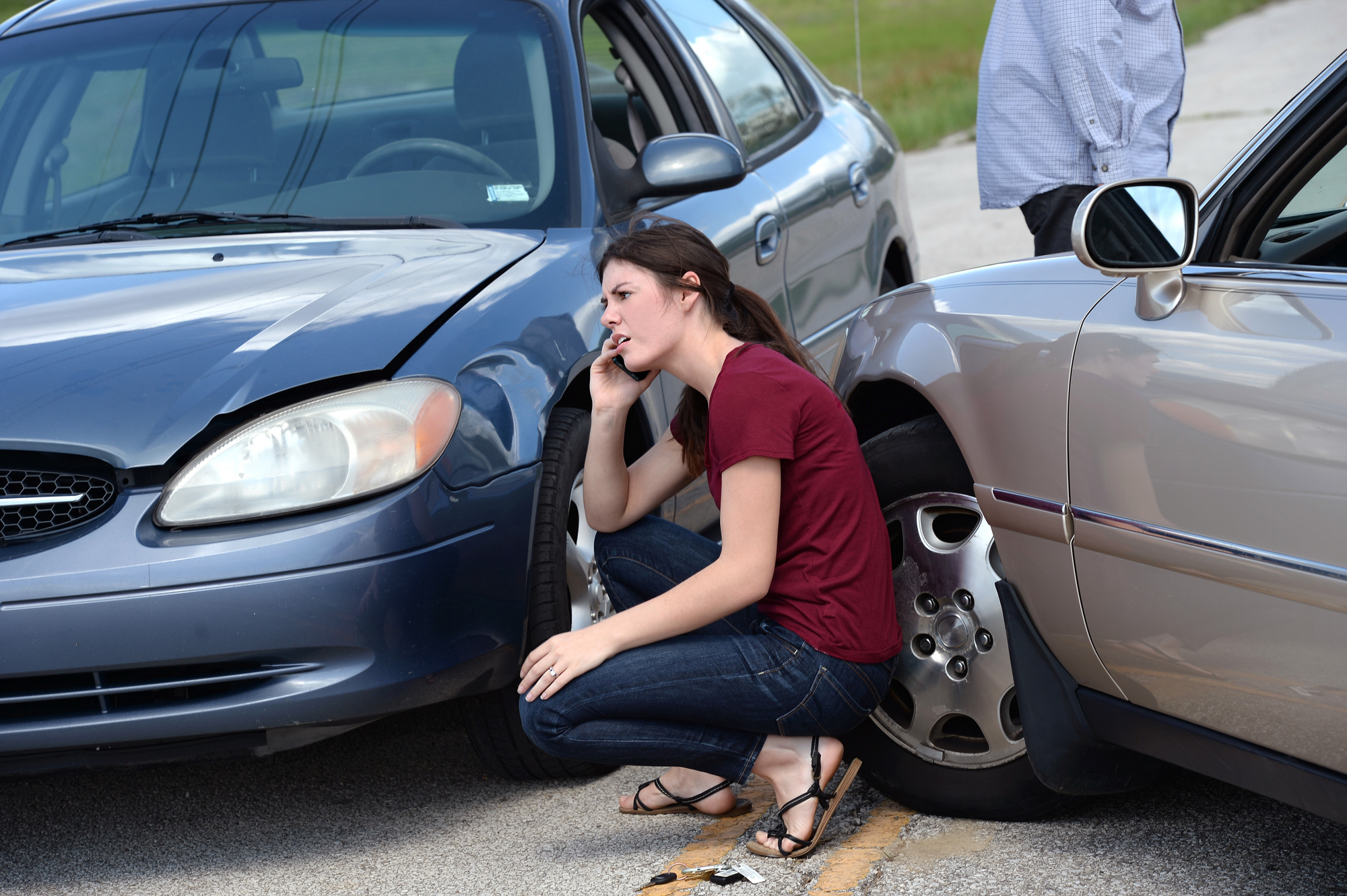 woman in a car accident