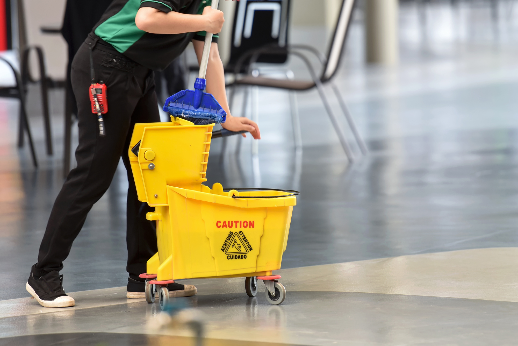 janitor with mop bucket